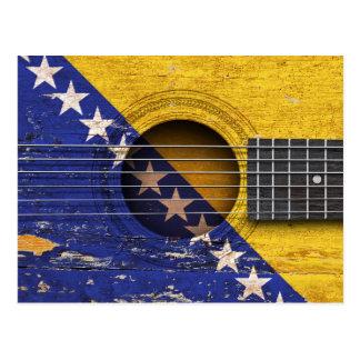 Bosnia-Herzegovina Flag on Old Acoustic Guitar Postcard