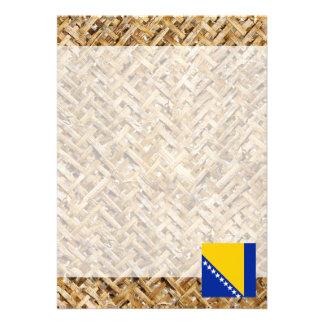Bosnia Herzegovina Flag on Textile themed Card