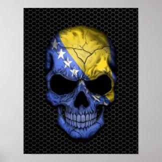 Bosnia - Herzegovina Flag Skull on Steel Mesh Grap Poster