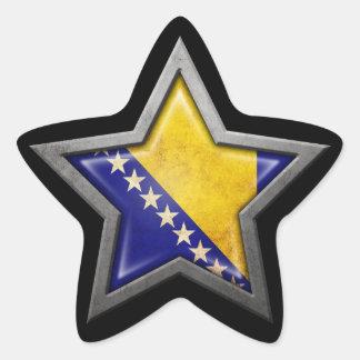 Bosnia Herzegovina Flag Star on Black Star Sticker