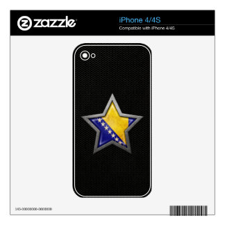 Bosnia Herzegovina Flag Star Steel Mesh Effect Decals For The iPhone 4S