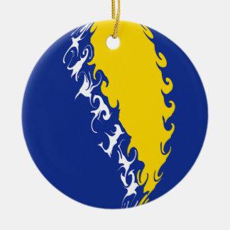 Bosnia Herzegovina Gnarly Flag Ceramic Ornament