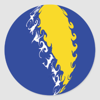 Bosnia Herzegovina Gnarly Flag Classic Round Sticker