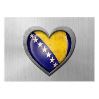 Bosnia Herzegovina Heart Flag Stainless Steel Effe Business Card Templates