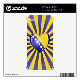 Bosnia Herzegovina Heart Flag with Star Burst iPhone 4S Decals