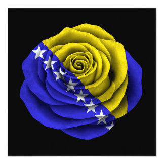 Bosnia Herzegovina Rose Flag on Black Card