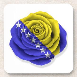 Bosnia Herzegovina Rose Flag on White Beverage Coaster