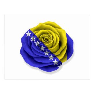 Bosnia Herzegovina Rose Flag on White Postcard