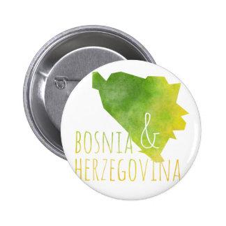 Bosnia y Herzegovina traza Pin Redondo De 2 Pulgadas