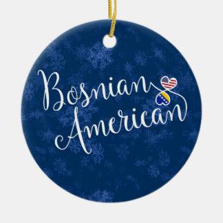 Bosnian American Hearts, Christmas Tree Ornament, Ceramic Ornament