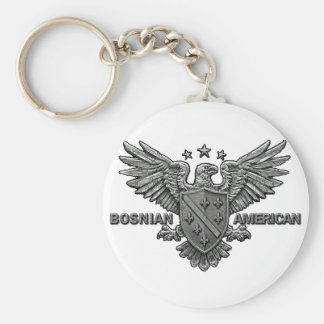 Bosnian American Themed Apparel Basic Round Button Keychain