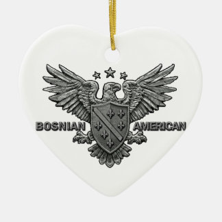 Bosnian American Themed Apparel Double-Sided Heart Ceramic Christmas Ornament