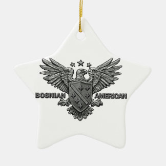 Bosnian American Themed Apparel Double-Sided Star Ceramic Christmas Ornament