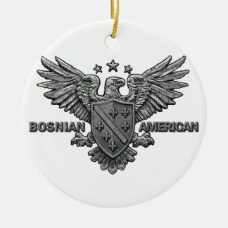 Bosnian American Themed Apparel Double-Sided Ceramic Round Christmas Ornament