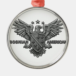 Bosnian American Themed Apparel Round Metal Christmas Ornament