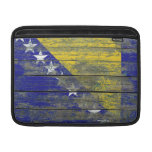 Bosnian Flag on Rough Wood Boards Effect MacBook Air Sleeve