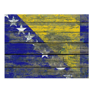 Bosnian Flag on Rough Wood Boards Effect Postcard