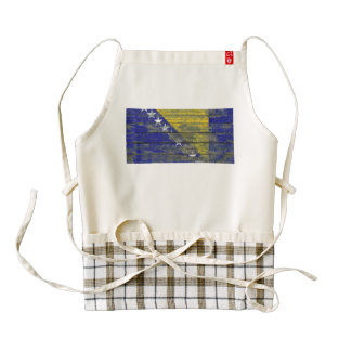 Bosnian Flag on Rough Wood Boards Effect Zazzle HEART Apron