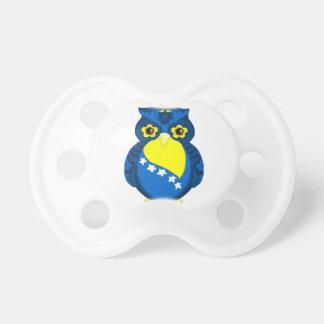 Bosnian Flag Owl baby pacifier