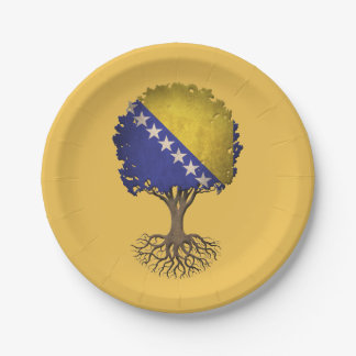 Bosnian Flag Tree of Life Customizable 7 Inch Paper Plate