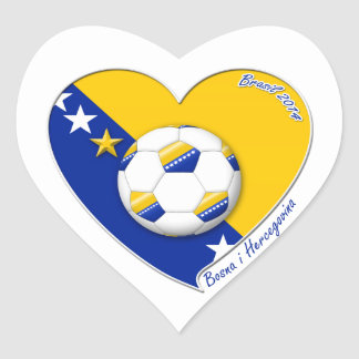 """Bosnian National Soccer Team. Soccer """"BOSNA"""" 2014 Heart Sticker"""