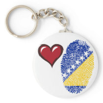 Bosnian touch fingerprint flag keychain
