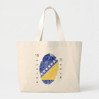 Bosnian touch fingerprint flag large tote bag