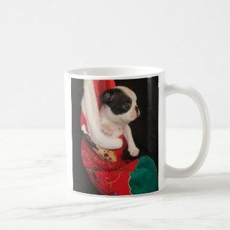 Boson Pup in Christmas Stocking Mug