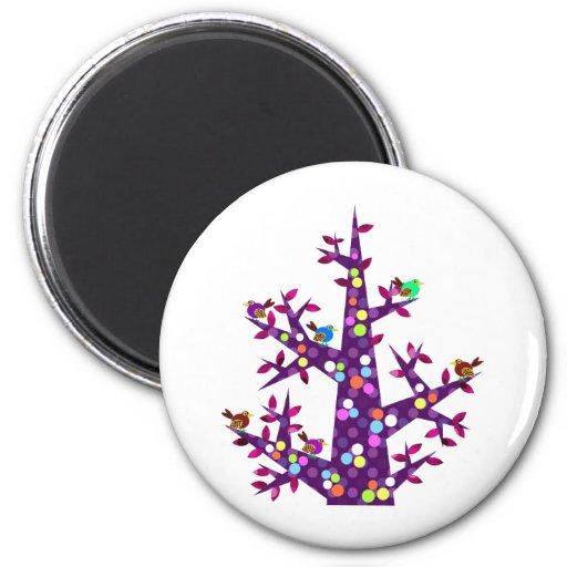 Bosque 004: Un árbol con muchos lunares Imanes De Nevera