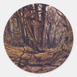 Bosque a finales de la caída por Friedrich Caspar Etiquetas Redondas