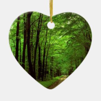 Bosque Allegheny Pennsylvania Adorno Navideño De Cerámica En Forma De Corazón