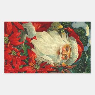 Bosque antiguo del navidad de Santa del Poinsettia Pegatina Rectangular