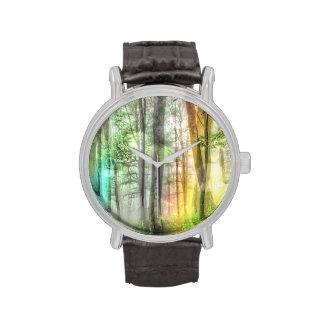 Bosque borroso relojes de pulsera