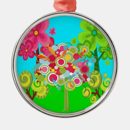 Bosque colorido del verano del árbol caprichoso adorno navideño redondo de metal