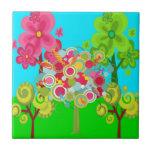 Bosque colorido del verano del árbol caprichoso de tejas  ceramicas