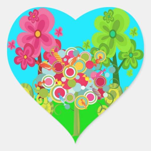 Bosque colorido del verano del árbol caprichoso pegatina en forma de corazón