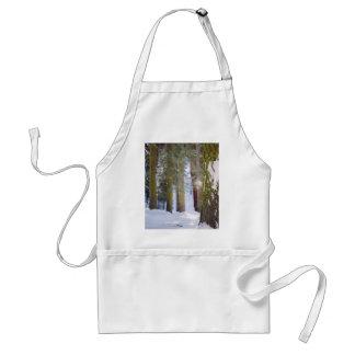 Bosque con los árboles cubiertos con nieve y musgo delantal