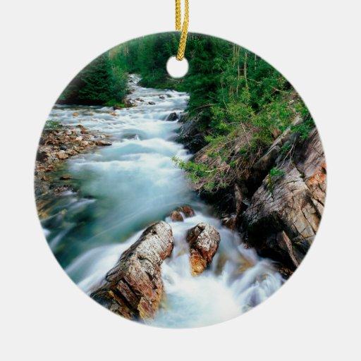 Bosque cristalino Colorado de Gunnison del río Adorno Navideño Redondo De Cerámica