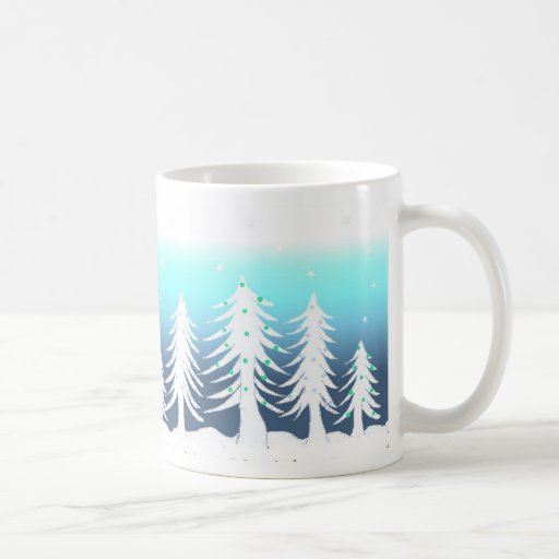 Bosque de árboles de navidad taza