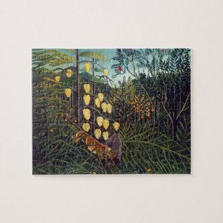 Bosque de Enrique Rousseau- Tigre de lucha búfal Puzzle Con Fotos