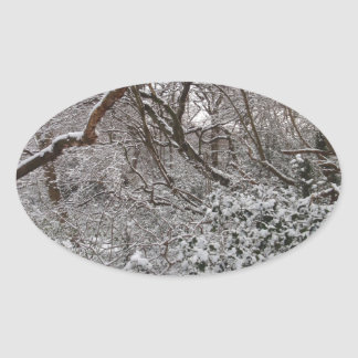 Bosque de Epping en invierno Pegatina Ovalada