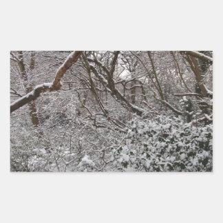 Bosque de Epping en invierno Pegatina Rectangular