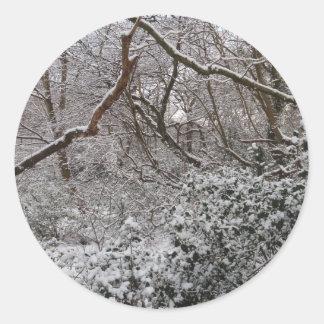Bosque de Epping en invierno Pegatina Redonda