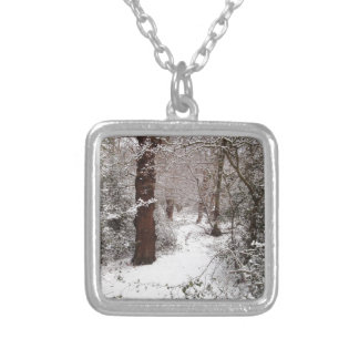Bosque de Epping en la nieve Colgante Cuadrado