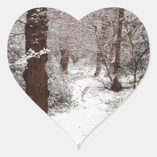 Bosque de Epping en la nieve Pegatina En Forma De Corazón