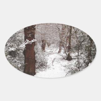 Bosque de Epping en la nieve Pegatina Ovalada