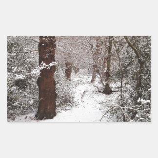 Bosque de Epping en la nieve Pegatina Rectangular