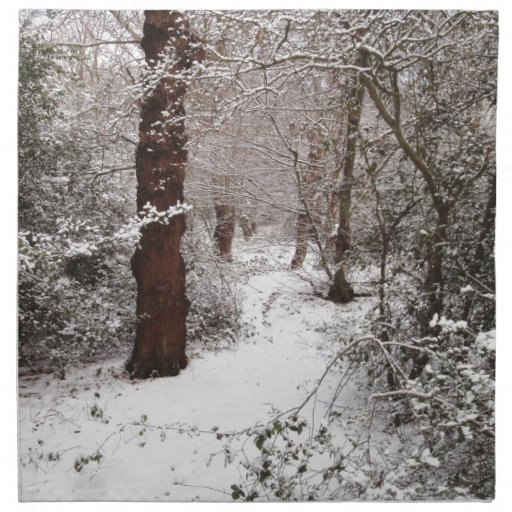 Bosque de Epping en la nieve Servilletas Imprimidas
