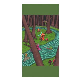 Bosque de hadas juguetón tarjeta con foto personalizada