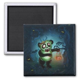 Bosque de Halloween de la panda del zombi Imán Cuadrado